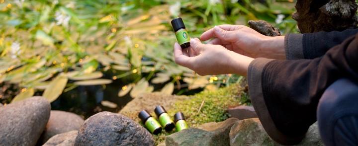 Overzicht flesjes etherische oliën in de natuur gebruikt bij de cursus Aromatherapie